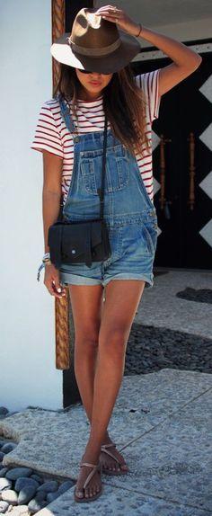 #stripes   denim Dungaree find more women fashion ideas on www.misspool.com