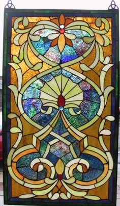 Tangerine Fan Stained Glass Window Panel