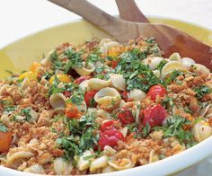 Grilled Cherry Tomato Pasta with Crisp Breadcrumbs & Basil by Fine Cooking