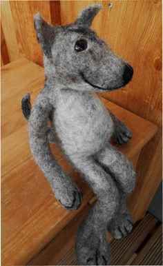 wet felted friendly wolf