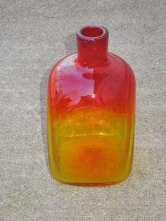 Vintage MID Century Blenko ART Glass Amberina Decanter Bottle Squared NO Stopper | eBay