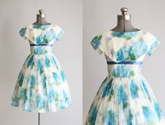 Vintage 1950s Dress / 50s Party Dress / Blue and Green Floral Party PROM Dress w/ Ribbon Detailing XS