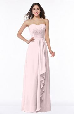 Petal Pink Classic A-line Zipper Chiffon Floor Length Plus Size Bridesmaid Dresses