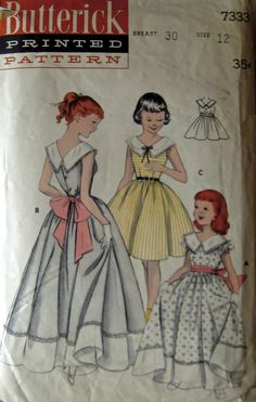 50s Full Skirted Dress Butterick 7333 Size 12 Bust by stumbleupon