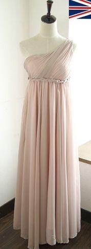 Pale pink Grecian maxi bridesmaid dress