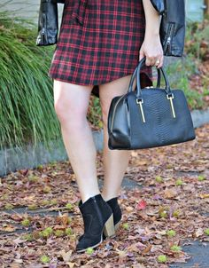Our booties + Plaid Shirt Dress