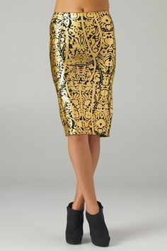 Gold Foiled Pencil Skirt for only $35.00!