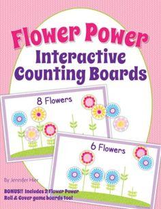 Flower Counting Boards.  Great number practice for Preschool, Pre-K, Kindergarten