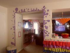 paint splatters around the doorway. Solid color contact paper!