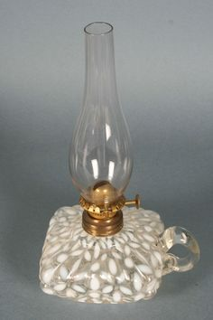 Antique Miniature Oil Lamp - White Spanish Lace - S1-40