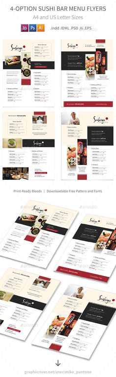 Sushi Bar Menu Flyers - 4 Options - Template PSD, Vector EPS, InDesign INDD, AI Illustrator