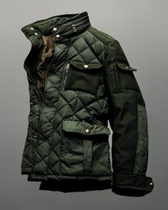 This is the Rodriguez Field Jacket, it's a limited edition jacket designed to reference the past and future of the luxury Bergdorf Goodman label – It has quilted front and arm panels, knit sleeves and and a knit back with a zip-out hood in the collar, the interesting combination of materials and vintage military look give the jacket an eye-catching appeal and if it didn't cost more than my motorcycle, I'd have ordered one already.