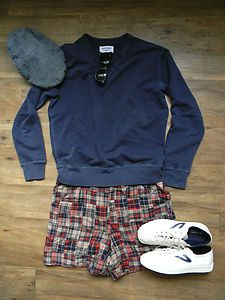 Available in our eBay shop: Our Legacy sweatshirt and Band of Outsiders madras plaid shorts.