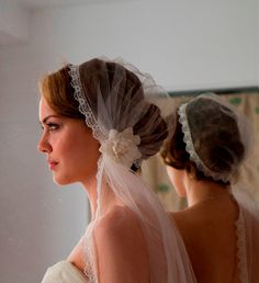 Ivory Juliet Cap with Wedding Veil in English Silk by AgnesHart, $230.00