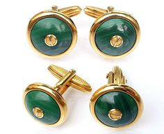NEW VINTAGE Alfred Dunhill Cufflinks Gold Plated Marble Stone