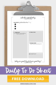 Daily To Do List - Free Printable to help you get more done each day! 2015 Calendar Printable, To Do Lists Printable, Printable Planner, Free Printables, Free Planner, Blog Planner, 2015 Planner, Binder Planner, Mom Brain