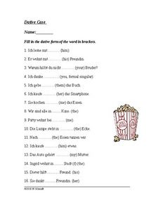 This worksheet includes 16 questions that require the students to fill in the blanks in the dative case to practice:-indirect object pronouns-possessives-articles-dative verbs/prepositionsNote: This worksheet is in my Beginner Pronoun Worksheets, Prepositions, Dative Case, Object Pronouns, Teacher Resources, German, Language, Teaching, This Or That Questions