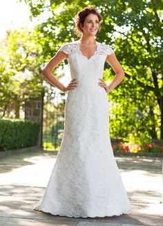 """Rustic-Chic Wedding Gowns ~~ Outer Lace With its lace overlay and flattering silhouette, this simple dress is a perfect choice. Find beautiful dresses for your bridesmaids. """"Meryl"""" From Lea-Ann Belter via Lover. Cheap Wedding Dresses Uk, Wedding Dress 2013, Wedding Dresses Photos, Gorgeous Wedding Dress, Cheap Dresses, Chic Wedding, Beautiful Dresses, Dresses 2014, Wedding Ideas"""