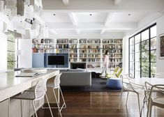 We love this fireplace nestled in the shelves of books. Such an inviting space to relax. Inspiration for your Cannon Gas Log Heater!