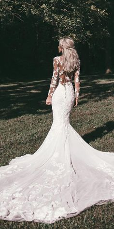 Wedding Gown wedding gown styles mermaid with long sleeves illusion back floral pronovias - Wedding dress shopping can be a bit intimidating. Here is a helpful guide to familiarize yourself with the different wedding gown styles that are available. Wedding Dress Black, Lace Wedding Dress With Sleeves, Wedding Dresses 2018, Long Sleeve Wedding, Wedding Dress Styles, Bridal Dresses, Dress Lace, Lace Sleeves, Wedding Outfits