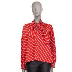 Balenciaga Diagonal-Striped Pussy-Bow Wide Blouse Luxury Shop, Balenciaga, Artsy, Stripes, Bows, V Neck, Black And White, Chic, Sleeves
