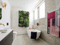 The couple's bathroom left the judges a bit overwhelmed, particularly criticised their vertical garden. The Block Bathroom, Couples Bathroom, Terrazzo Tile, Diy Bathroom Decor, Bathroom Ideas, Bathroom Trends, White Tiles, Tile Design, House Design