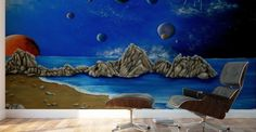 Mural Print,  interior,decor,decoration,wall,art,room,design,modern,cool,unique,artistic,beautiful,painting,dark,blue,universe,sky,planets,night,stars,earth,cosmos,sea,big