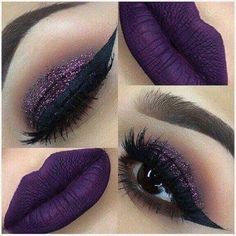 Purple lips and purple glitter. Purple lips and purple glitter. Purple Lipstick Makeup, Glitter Makeup, Skin Makeup, Makeup Brushes, Flawless Makeup, Makeup Eyeshadow, Purple Makeup Looks, Makeup Remover, Purple Witch Makeup