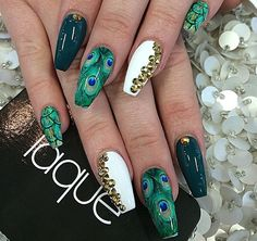Teal,white,gems,coffin nails
