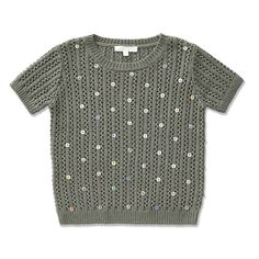 This short sleeved sweater is made from a textured chunky knit. Features sequin detail on the front and a ribbed hem. Available in 3Y – 12Y.
