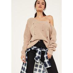 Missguided Nude Distressed Slouch Jumper ($31) ❤ liked on Polyvore featuring tops, sweaters, stone, jumpers sweaters, slouchy tops, torn sweater, ripped sweater and beige top