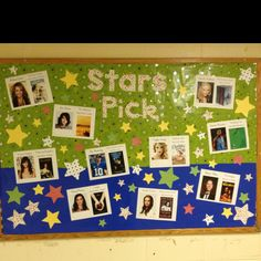 Stars Pick bulletin board - celebrities favorite books!  Can you tell I was having fun playing with my new Cricut? :-)