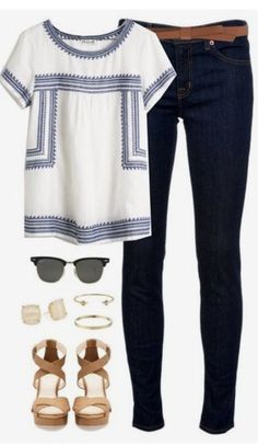 **** Blue and white embroidered top and dark washed skinnies!! Love the saddle colored block sandal and accessories to spruce up this adorable boho look! Get great looks just like these from Stitch Fi (Fall Top Stitch Fix)