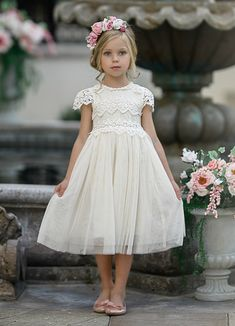 Luciana Cap Sleeve Lace Flower Girl Dress Ivory Luciana Cap Sleeve Lace Flower Girl Dress Ivory – Think Pink Bows Cheap Flower Girl Dresses, Wedding Flower Girl Dresses, Lace Flower Girls, Lace Flowers, Girls Dresses, Pink Flower Girl Dresses, Fall Flower Girl, Cute Little Girl Dresses, Girls Bridesmaid Dresses