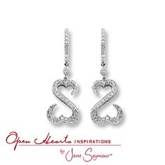 Open Hearts Earrings 1 Ct Tw Diamonds Platinum