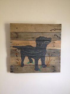 Black Lab Art,20x20,Labrador Retriever,Pallet Art,Rustic wall art,silhoutte,nursery art,outdoors,nature,children art,decor,Boy art,kids room on Etsy, $80.00