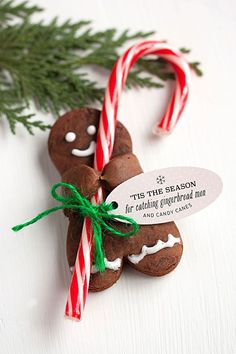 Holiday Recipe: Chocolate Gingerbread Men with Candy Canes - Ella - Holiday Recipe: Chocolate Gingerbread Men with Candy Canes Lebkuchenmänner mit Zuckerstangen - Xmas Food, Christmas Sweets, Christmas Cooking, Noel Christmas, Christmas Goodies, Christmas Candy, Cookies For Kids, Xmas Cookies, Super Cookies