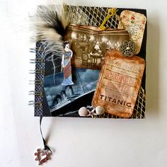 Titanic journal diary, 100 years in 2012 Mixed media art journal  diary OOAK collage