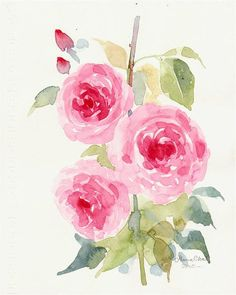 ROSE FLOWER PAINTING Original Watercolor art on by sabaiover, $40.00