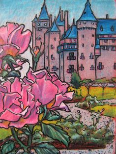 Original ACEO: Travel Bug 4, Kasteel de Haar (the Netherlands). ACEO cards are the affordable way to enjoy unique art. $25.00, via Etsy.