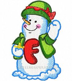 Free Embroidery Design: Snowman Letter F - I Sew Free