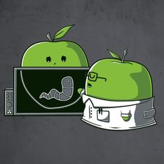 X Ray worm in apple cartoon Funny Shit, Funny Puns, Funny Cartoons, Hilarious, Funny Images, Funny Pictures, Cute Puns, Funny Drawings, Funny Illustration
