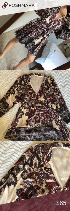 Tribal print dress Purple, black and tan dress. Could be belted! NEVER WORN! HAS TAGS. Has lining underneath. Free People Dresses Midi