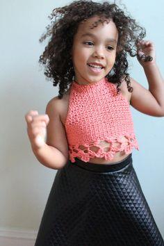 Crochet Toddler, Baby Girl Crochet, Crochet For Kids, Crochet Baby Bikini, Crochet Designs, Crochet Patterns, Crochet Baby Costumes, Diy Crop Top, Crop Top Pattern