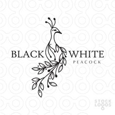 Logo for sale: Simple modern logo design. The peacock is created with flowing vine an leave shapes.