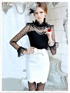 Morpheus Boutique - Black Dots See Through Ruffle Hem Long Sleeve Shirt. Love this look. Runway Fashion, Girl Fashion, Womens Fashion, Fashion Design, Petticoated Boys, Sexy Blouse, Cardigan, Girly Girl, Vintage Dresses