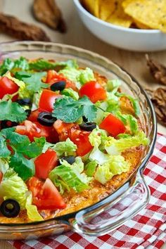 Taco Dip... Not sure about the mayo, but I love that it includes a link to a simple taco seasoning mix recipe to use.