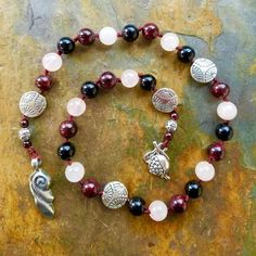 Persephone Prayer Beads, Pagan Prayer Beads, Meditation Beads, Wiccan Prayer Beads, Affirmation Beads, Witches Ladder, Prayer Mala
