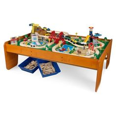 Hey! Play! Wooden Train Set Table for Kids, Deluxe Had Painted ...