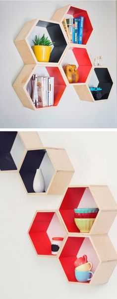 6 Positive ideas: Farmhouse Floating Shelf Woods floating shelves design how to build.Floating Shelf With Drawer Home Office floating shelves laundry washer and dryer.Floating Shelves With Pictures Fire Places. Honeycomb Shelves, Hexagon Shelves, Diy Furniture, Furniture Design, Diy Home Decor, Room Decor, Diy Casa, Shelf Design, Wall Shelves